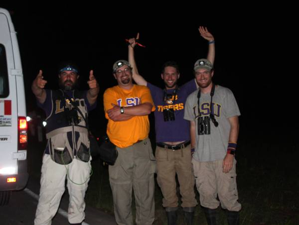 A photo of the LSU Peru Big Day team right after they observed their 354th and final species, the peculiar, nocturnal Oilbird, outside of Moyobamba, Peru.