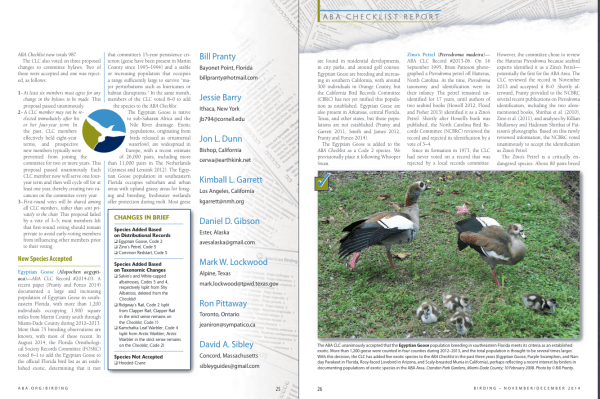 Sample pages from the ABA Checklist Committee's detailed report in Birding magazine. ABA members, click on the link above for the full article.
