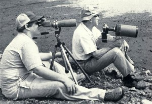 The author with Dr. William Beecher at the Calumet marshes, August 1979. Beecher's 1200mm Celestron lens on a gunstock was iconic. Photo by William Jarvis.