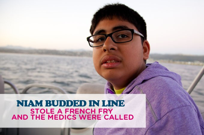 NIAM BUDDED IN LINE, STOLE A FRENCH FRY AND THE MEDICS WERE CALLED: AUTISM BLOG