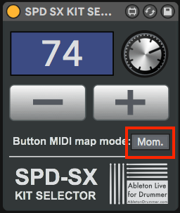 Momentary and Toggle switch for Ableton Live Max for Live device for SPD-SX.