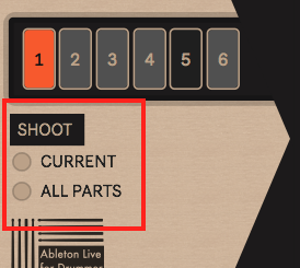 Shoot section to re-send values of current or of all drum parts.