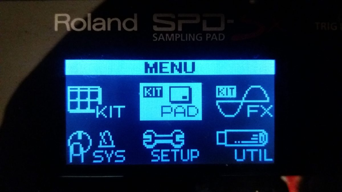 Select menu in SPD-SX