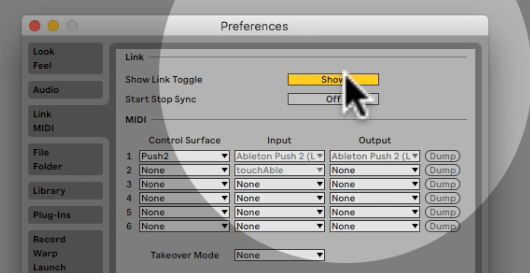 Midi Preferences in ableton Live