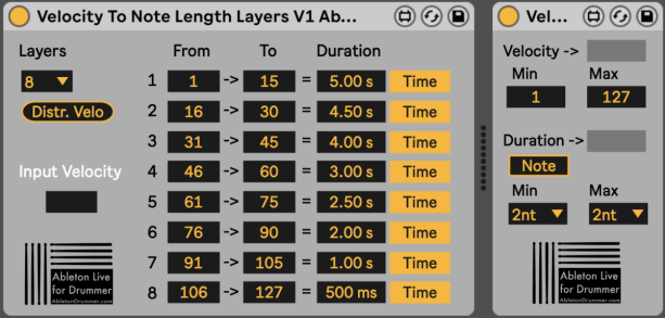 Use the velocity from incoming MIDI notes to set the length for those MIDI notes.