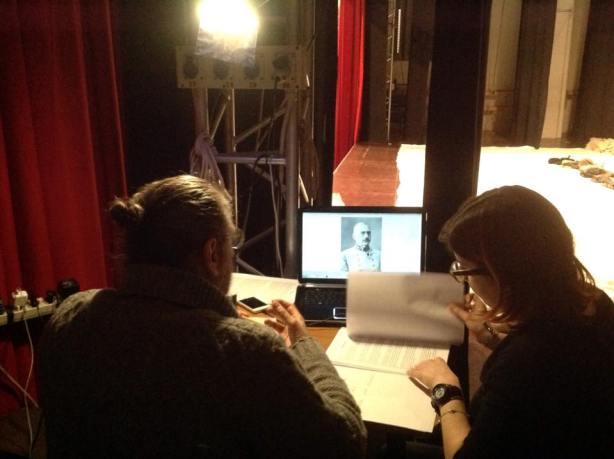 Daniela e il regista P. Arrigoni nel backstage del palco del Teatro San Domenico di Crema