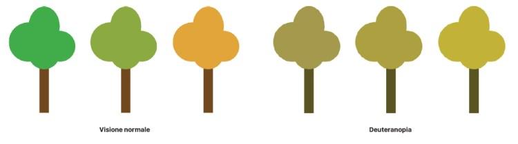Confronto tra la visione normale degli alberi in autunno e quella di una persona affetta da daltonismo