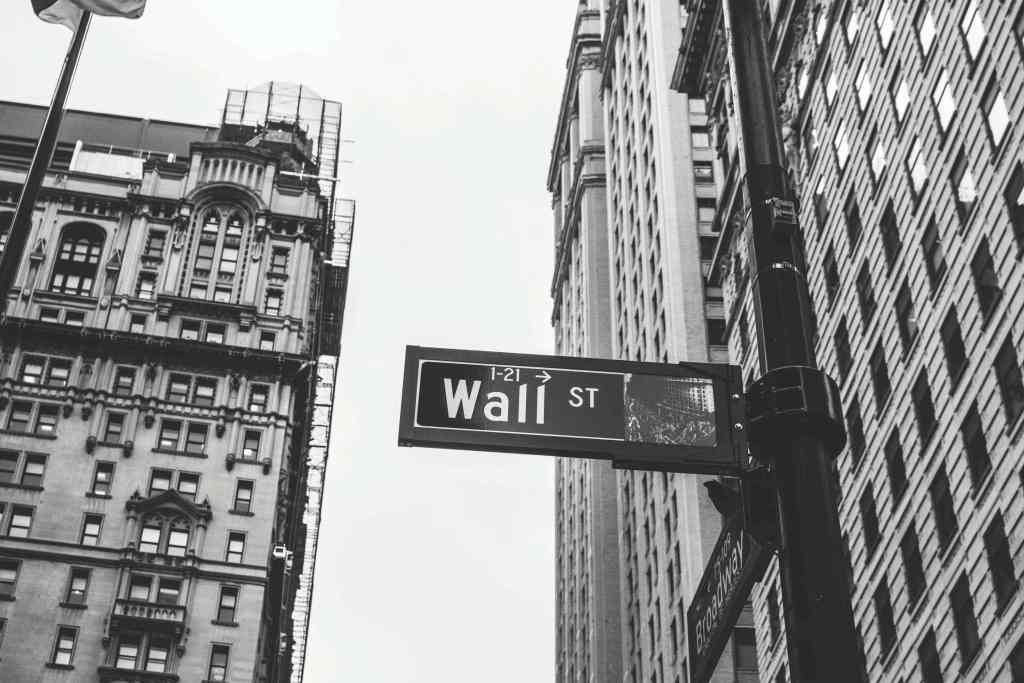 Picture of Wall Street street sign in black and white