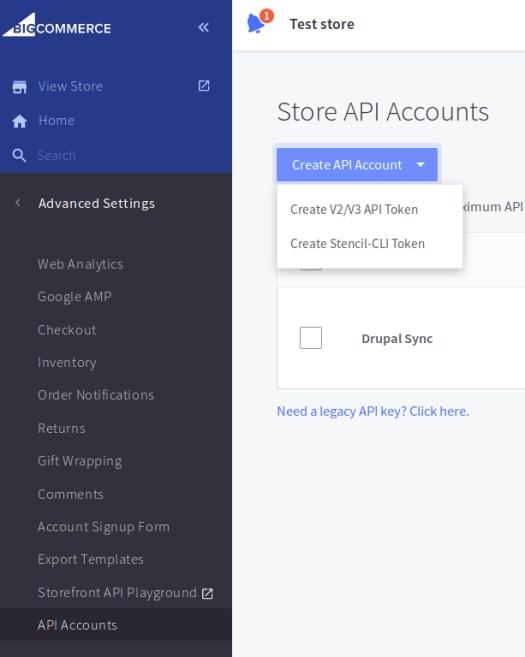 BigCommerce Store API Accounts page