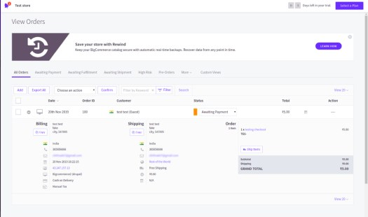 BigCommerce backend View Orders page