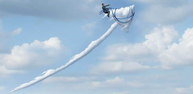 Business leadership success metaphor as a businessman riding and controlling a cloud shaped as an upward moving arrow as a symbo