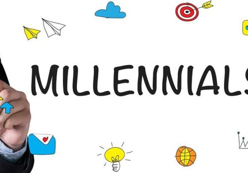 MILLENNIALS and Businessman drawing Landing Page on white background, reflecting How Millennials Impact Finance Technology Adoption.