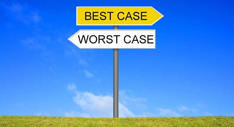 Signpost outside is showing Best Case or Worst Case, for scenario planning