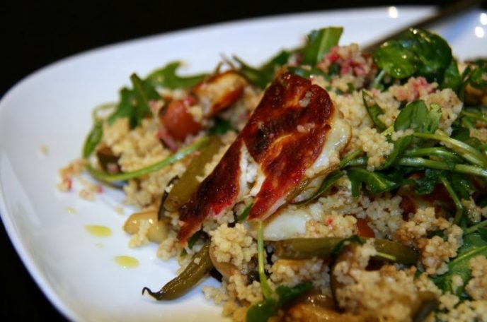 Halloumi and Balsamic Roasted Vegetable Quinoa Salad