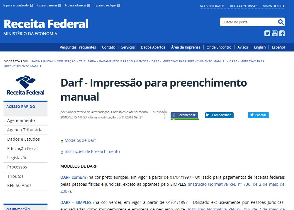 imposto de renda atrasado - demonstrativo da tela da Receita Federal no Darf - impressão para preenchimento manual