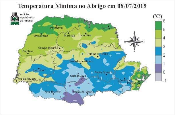 Mapa de geada no estado do Paraná, no exemplo temperatura mínima no abrigo em 08 de julho de 2019.
