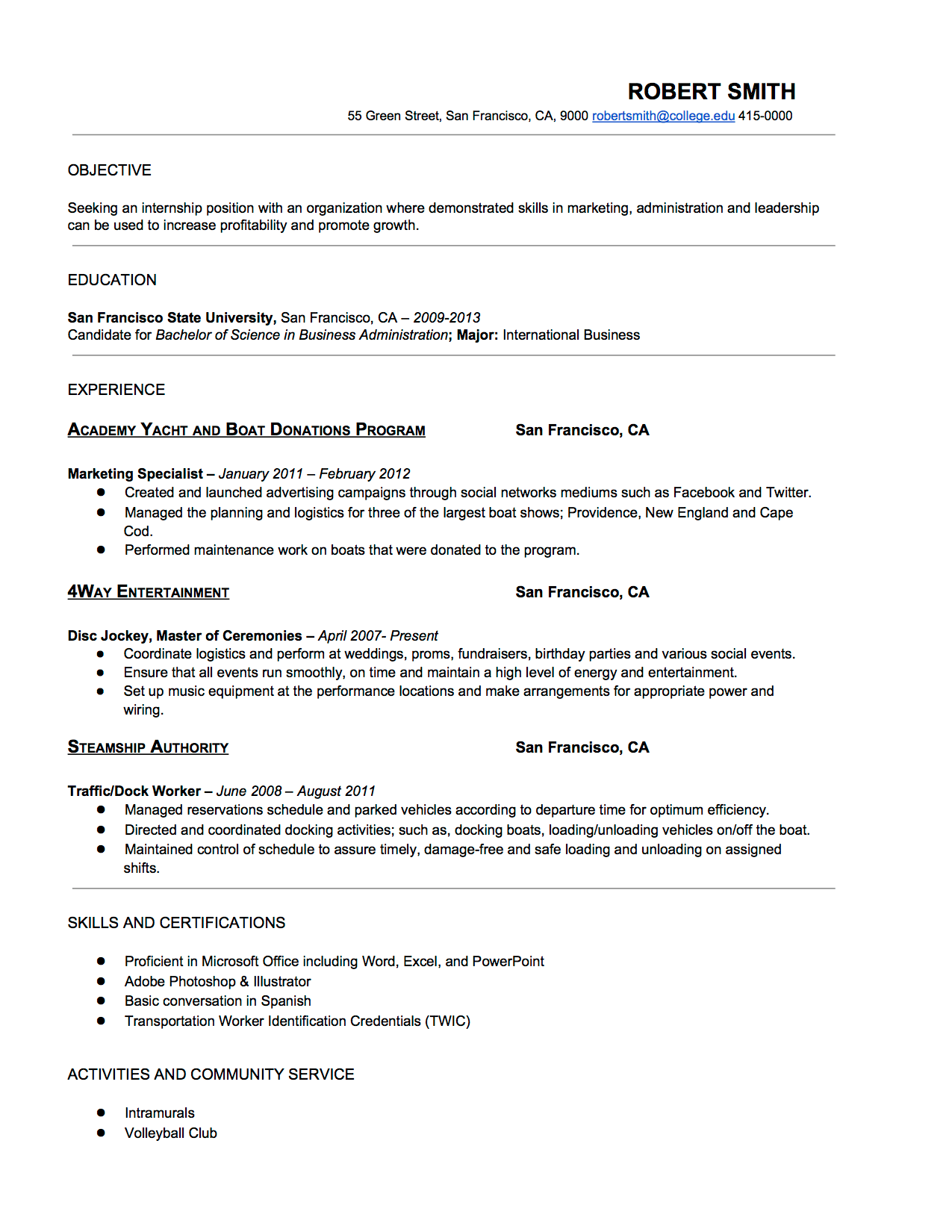 Show some resume formats