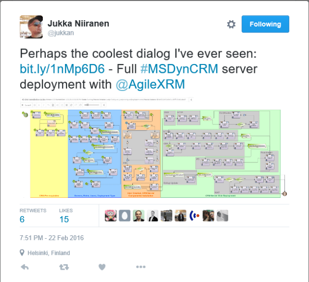 Perhaps the coolest dialog I've ever seen: https://t.co/ZO4SSaZkrZ - Full #MSDynCRM server deployment with @AgileXRM — Jukka Niiranen (@jukkan) February 22, 2016