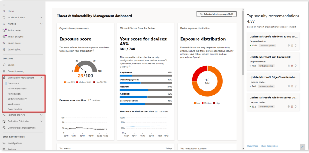 MS Defender for Endpoint - Threat and Vulnerability Management (TVM) 31