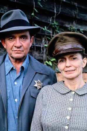 Johnny & June Carter Cash in a relaxed picture while on the set of 'Murder in Coweta County', 1983