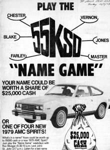 KSD Radio's Name Game Promotion, as it appeared in the St. Louis Post-Dispatch