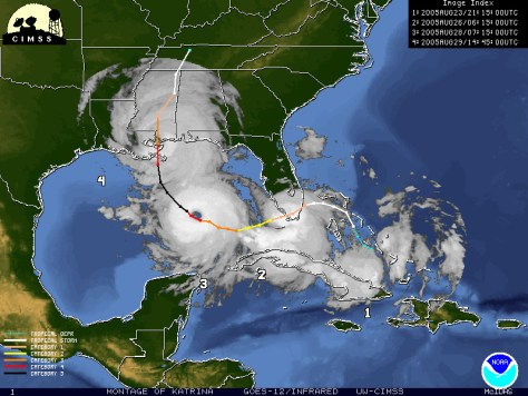 NOAA's Official Track of Hurricane Katrina ten years ago on that Fate-full Summer of 2005