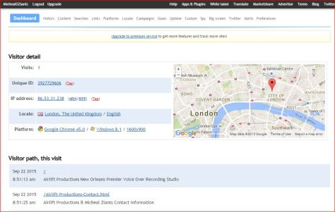 Airlift Productions Website Traffic from London & Brainstorm