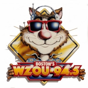 "The absolutely precious WZOU ""Zoo-Cat"" logo - complete with headphones, as it appeared on bumper stickers & T-Shirts in 1989"