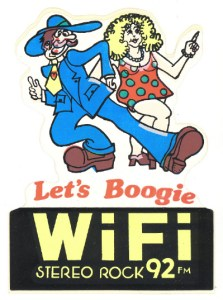 A 1980s era WIFI-92 Bumper Sticker & T-Shirt Design.
