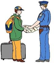 Clipart:: Polizist/in zeigt einer Reisenden den Weg auf einer Karte