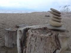Foto, gestapelte flache Steine