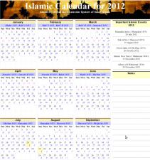 Islamic Calendar 2012