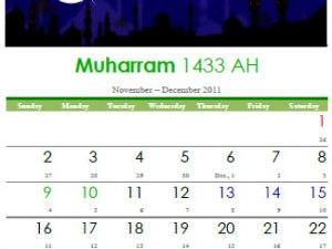 Muharram 1433 AH Calendar Available as PDF