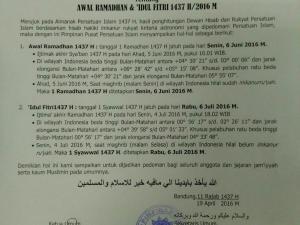 PERSIS: Puasa Ramadhan 1437 H mulai Senin, 6 Juni 2016