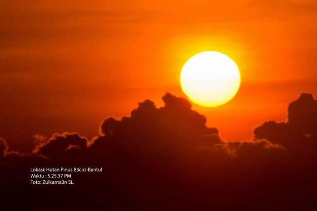 Zulkarnaen mengabadikan foto gerhana matahari sebagian, 1 September 2016 dari hutan Pinus Becici, Bantul, Yogyakarta.