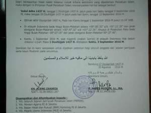 Kementerian Agama: 1 Dzulhijah 1437 H Jatuh pada 3 September 2016