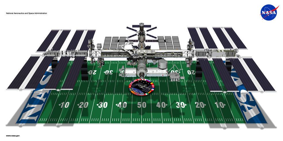 Perbandingan ukuran satelit ISS dengan lapangan sepak bola amerika. Panjangnya sekitar 108 meter.