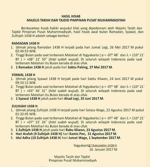 Maklumat Muhammadiyah mengenai Ramadhan, Syawal & Dzulhijjah 1438 H.