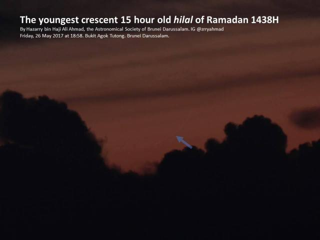 Foto hilal (bulansabit) 1 Ramadhan 1438 H yang amat tipis, yang teramati oleh tim pengamat dairi Brunei Darussalam pada petang hari Jum'at, 26 Mei 2017.