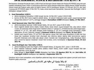 PERSIS: 1 Ramadhan 1438 H jatuh pada 27 Mei 2017