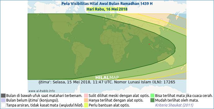 Peta kemungkinan terlihatnya bulan sabit pada hari Rabu, 16 Mei 2018 M. Dapat dilihat bahwa hampir seluruh wilayah dunia berada dalam arsiran hijau yang berartihilal Ramadhan 1439 H akan mudah dilihat pada petang hari Rabu tersebut.