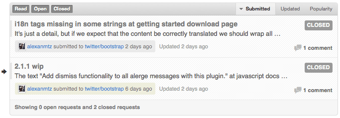 Pull requests aceitos do Globo Bootstrap