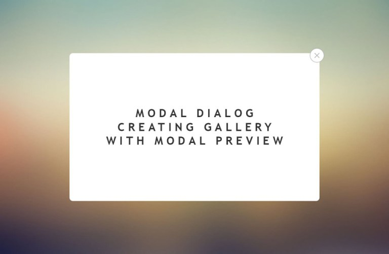 Modal Dialog – Creating Gallery With Modal Preview