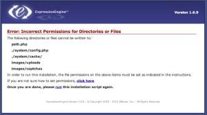 Permissão de diretórios na instalação do ExpressionEngine