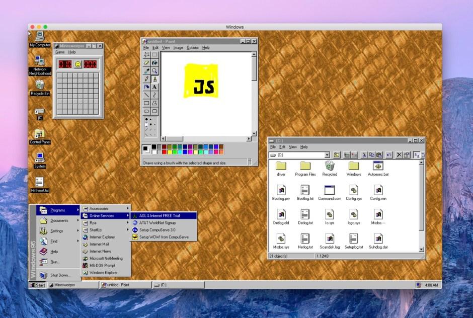 Windows 95 running in Electron