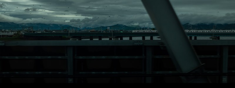 Cinematic photograph taken from the bullet train, shinkansen, on my way to Kyoto