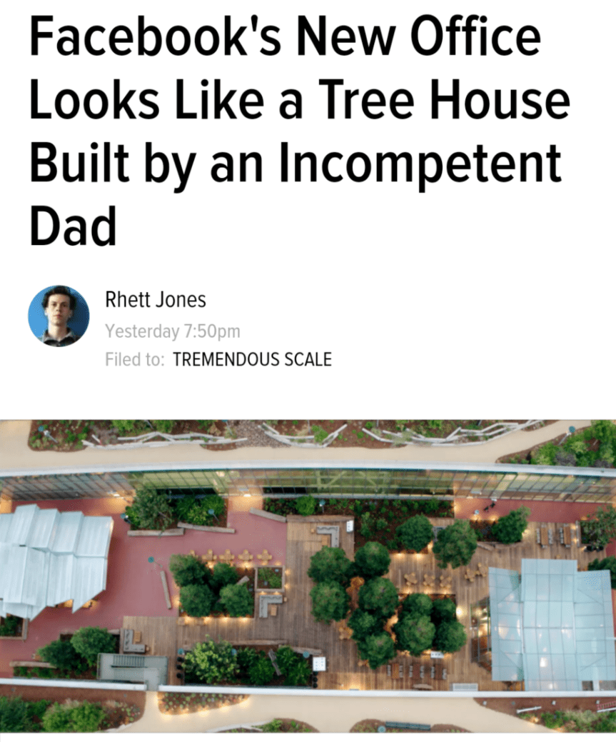 Facebook's New Office Looks Like a Tree House Built by an Incompetent Dad