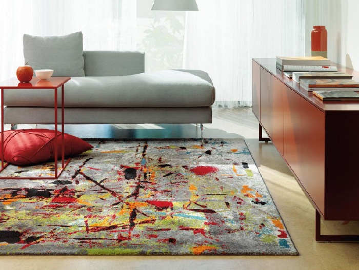 tapis de salon multicolore
