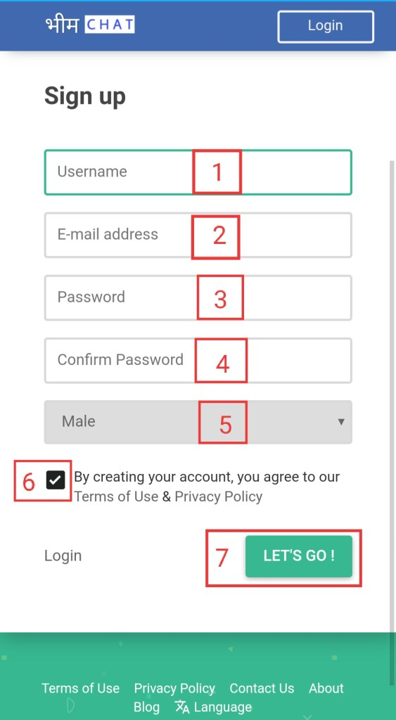 How to create Bhimchat Account