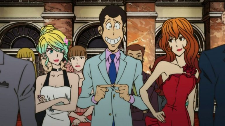 From left, Rebecca Rossellini, Lupin III, and Fujiko Mine